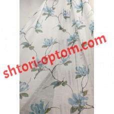 Лен тюль цветы голубой