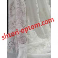 Лен тюль вышивка ветки белый и сиреневый