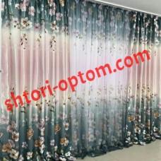 Готовые шторы Алия портьеры блекаут+тюль розово-зеленый
